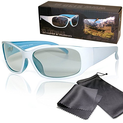 SJ3D Passive 3D Brille - sportlich geschnittene 3D Brille weiß/blau für sie oder ihn - Polfilterbrille zirkular polarisiert - Für RealD 3D Kino & TV: LG Cinema 3D Philips Easy 3D Telefunken Toshiba 3D Natural Vizio 3D und 3DTVs von SONY Grundig Panasonic Hisense CMX uvm. - Inkl. Mikrofaser Brillenbeutel und Putztuch