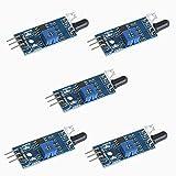 Anmbest 5個セット 3.3V 5V IR赤外線障害物回避センサーモジュール光電反射センサーはArduinoスマートカーロボット用の距離2〜30cmを検出します