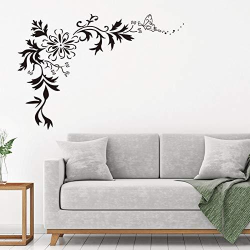 MWLSW Wandaufkleber Schwarz Schmetterling Blume Wein wandaufkleber Vinyl DIY Kunst wandtattoos für Wohnzimmer Schlafzimmer Hintergrund Wand wohnkultur wandbilder