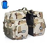 Inoxto Gepäckträger-Gepäckträgertasche, 50 l, großes Fassungsvermögen, wasserdicht, doppelte Rückfahrradtasche, mit Regenschutz und 2 l BPA-freier Trinkblase, optionaler Trinkrucksack, camouflage