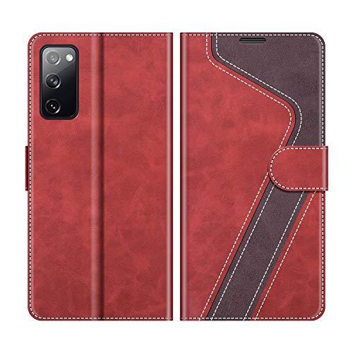 MOBESV Handyhülle für Samsung Galaxy S20 FE Hülle Leder, Samsung Galaxy S20 FE Klapphülle Handytasche Hülle für Samsung Galaxy S20 FE Handy Hüllen, Modisch Rot