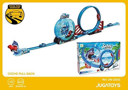 Jugatoys Pista Tiburon con Looping y Coche Micro Pull Back 38X8X26 cm