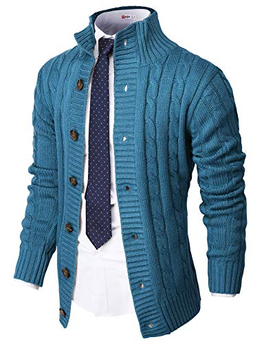 H2H Mens Casual Slim Fit Cardigan Sweater Cable Knitted Button Down Stand Collar Blue US L/Asia XL (CMOCAL035)