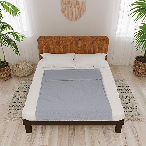 Dreamzie - Housse en Polaire pour Couverture Lestée Adulte 160 x 200 cm Polaire Gris Foncé - 8 Attaches et Zipper - Facilite Le Nettoyage