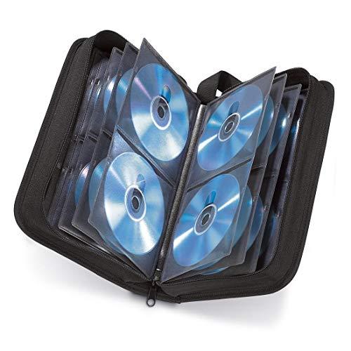 Hama CD Tasche für 64 Discs / CD / DVD / Blu-ray (Mappe zur Aufbewahrung , platzsparend für Auto und Zuhause, Transport-Hüllen) Schwarz