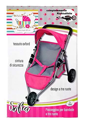 Cochecito para muñecas rosa Oxford plegable de metal con 3 ruedas con parasol y cesta