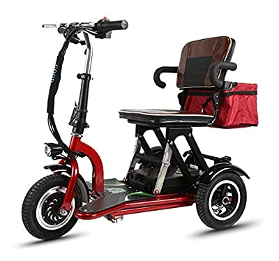 CYGGL Mobility Scooter, 3 Wheeled Folding Electric Scooter, Foldable, Reversible, Suitable For The Elderly, The Disabled, Adults 300w Motor, 20km/H, 3 Speed Adjustment, Load 120kg