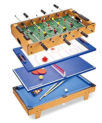 FSJD Mesa multijuego 4 en 1, futbolín, Mini Mesa de Billar, Mesa de Hockey de Aire, Mesa de Ping Pong, Mesa de Ping Pong, niños Adultos