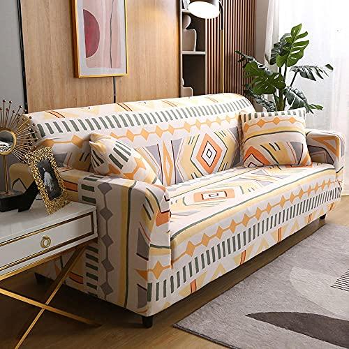 Funda Sofa Elastica 4 Plazas Protector para Sofás Antideslizante Funda Longue Chaise Cubre Sofa de Poliéster Decorativas Cubierta para sofá Ajustables - Estilo Bohemio