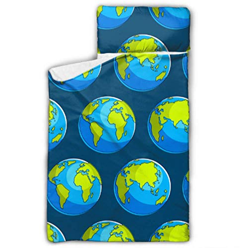 Abstrakte globale Erde Globen Kind Nickerchen Matte Kinder leichte Schlafsack mit Decke und Kissen Rollup Design ideal für Vorschule Kindertagesstätte Sleepovers 50