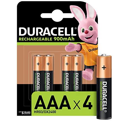 Duracell - Rechargeable AAA 900mAh Prericaricate, Batterie Ministilo Ricaricabili 900 mAh, confezione da 4