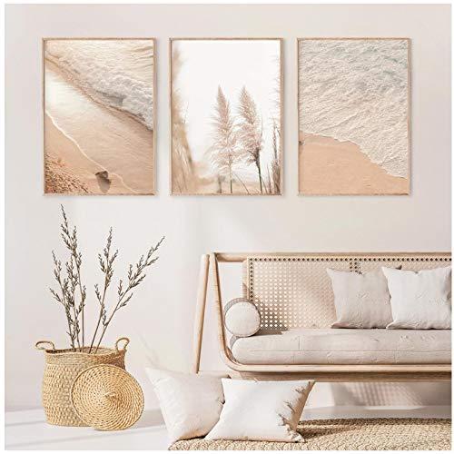 RUIYUE Landschaft Leinwand Malerei, Pampas Gras Pastell Strand Wandkunst Poster und Drucke, Wohnkultur 50 x 70 cm (19,6
