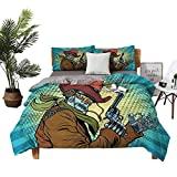 KaMiao 3-Piece Bedding Set Cotton Sheets Queen Bed Queen Western Style Robot Cowboy Super Soft Fiber W90 xL90 Zippered Quilt Cover and 2 Envelope Pillowcases