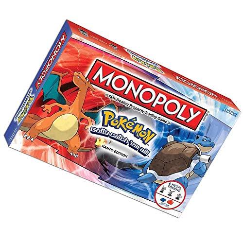 HYE Juego Mesa Pokemon Monopoly,Juegos de Tarjetas de Deck Multijugador Diversión Juegos de Fiesta Cumpleaños de Navidad Juegos Pokedex Juegos Estrategia para niños de 8 +años(Edición en inglés)