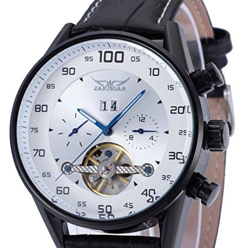 PIXNOR Reloj de pulsera mecánico automático de cuarzo, indicador de fecha, esqueleto de piel sintética para hombre