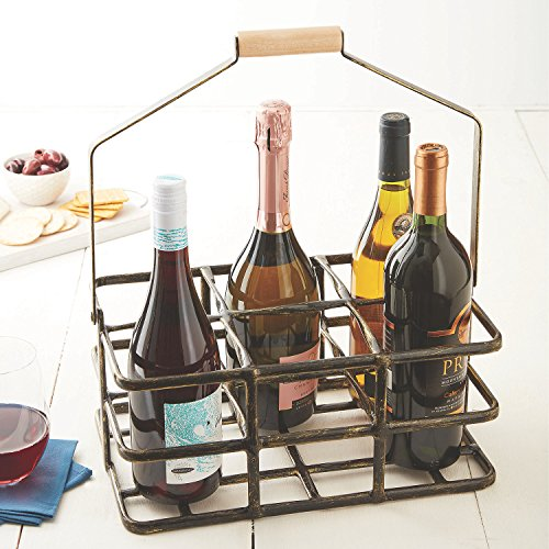 Professional 6 Bottle Wine Caddy for All Size & Shape Bottles. Sturdy Black Rubber Coated Frame Protects Bottles. Real Natural Wood Handle Folds for Compact Storage. Rugged and Long Lasting