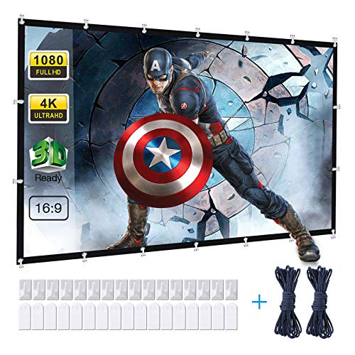 Powerextra Projector Screen 120 inch 16:9 HD Foldable Anti-Crease Portable Washable Projection Screen for Home Theater Outdoor Indoor Support Double Sided Projection - 120