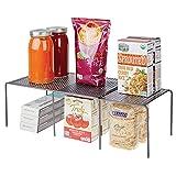 mDesign Estantería de cocina para armarios de cocina – Práctica estantería metálica para crear más espacio de almacenaje para la vajilla – Baldas de cocina extensibles – gris
