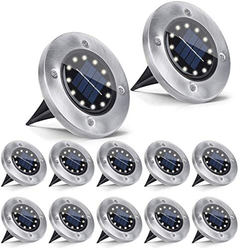 JoyNote Solar Ground Lights 12 Pack, 12 LED Solar Garden Light Outdoor, Disk Lights Waterproof In-Ground Outdoor Landscape Lighting for Patio, Pathway, Lawn Yard(Warm White)