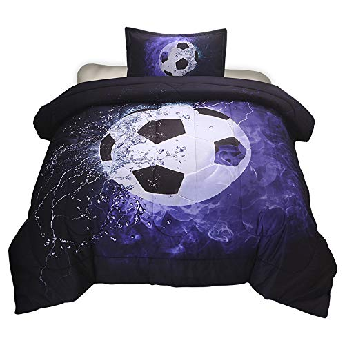 Soccer Comforter Set Twin Size for Boys Teens, 2-Pieces Sports Bedding Football Comforter,Reversible Printed Quilt Set with 1 Matching Pillow Sham