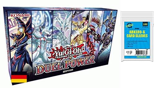 A YuGiOh! Duel Power Box - DUPO | DEUTSCH | Yu-Gi-Oh! Karten NEU | + Arkero-G 100 Small Soft Sleeves japanische Kartenhüllen