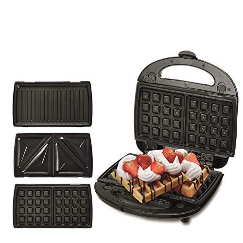 Camry CR 3024 Sandwichera Doble, Placas Intercambiables, 3 en 1 Gofres, Sandwich y Grill, 1000W, Libre de BPA, Polímero, Multicolor
