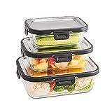 SILBERTHAL Set di 3 contenitori per Alimenti in Vetro | Contenitori ermetici per Alimenti | Contenitori Vetro con Coperchio salvafreschezza