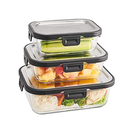 SILBERTHAL Contenitori per Alimenti con Coperchio | Set Contenitori Alimentari Vetro ermetici | Frigoverre Contenitori Vetro salvafreschezza | Contenitori microonde