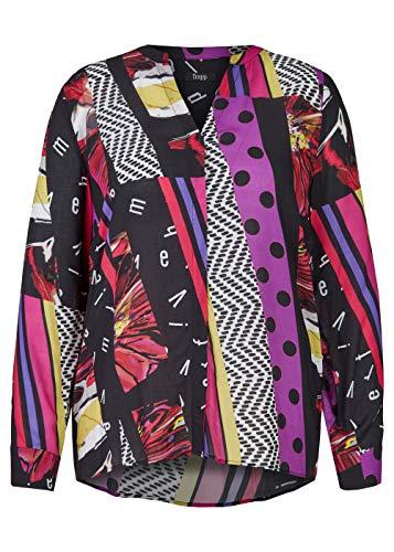 Frapp Damen Extravagante V-Bluse mit Mustermix