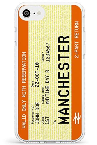 Manchester Personalizzata UK Biglietto del Treno Impact Cover per iPhone 7 Plus TPU Protettivo Phone Leggero con Personalizzato Rotaia Passaggio