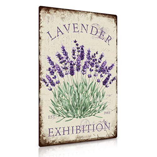 Putuo Decor Flower Art Painting Sign,Living Room or Dining Room Decor,12x8 Inches Aluminum (Lavender)