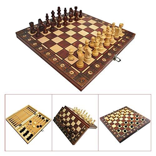 L.J.JZDY Schachbrett Supermagnetische hölzerne Schach-Backgammon-Kontrolleure 3 in 1 Schachspiel Antike Schach Travel Schach Set Hölzernes Schachfigur Schachbrett (Color : Braun, Size : 24x24cm)