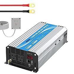 top rated Inverter 1200W Pure Sinus 12V ~ 110V 120V Remote Control Dual AC Socket… 2021