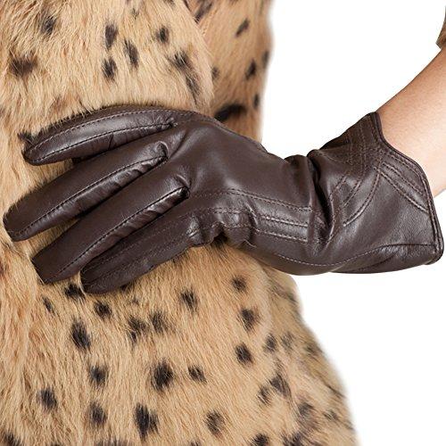 Nappaglo Damen Lederhandschuhe Winter Touchscreen Lammfell Elegant Echtleder Warm Handschuhe Outdoor, braun, M