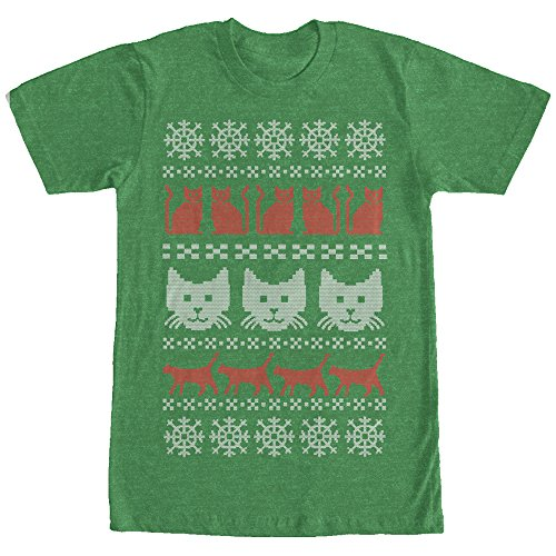 Men's Cat Ugly Christmas Sweater Kelly Heather T-Shirt