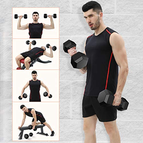 Barbell Set of 2 Rubber Dumbbell, 5/8/10/30/40/50LBS Dumbbell Lifting Set for Men,Women,Beginners,Home G-ym Weights Exercise Fitness Barbell for Full Body Workout【US Fast Shipment】 (50LBS/PCS)