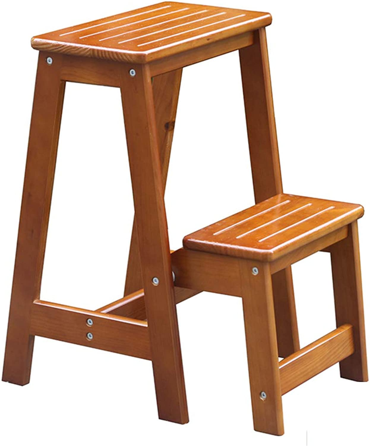 YJLGRYF Step Stool Ladder Stool Solid Wood Multifunction Foldable Thick Plate Non-Slip Design Environmentally Friendly, 2-Step Ladder Ladder (color   orange)