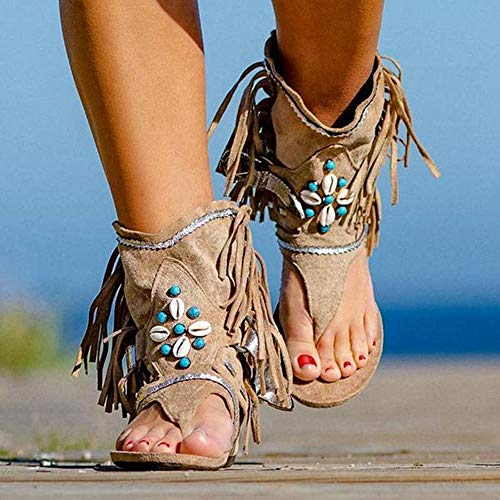LCCYJ Sandalias con Flecos de la Moda de Las Mujeres de Sandalias de Verano Sandalias de Playa Sandalias Planas Bohemias,01,41