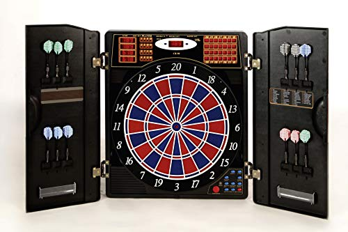Karella Dartautomat CB-90 im Cabinet, elektronische Dartscheibe mit 38 Spielen und 211 Varianten, exakte Turniermaße in 2-Loch-Ausführung
