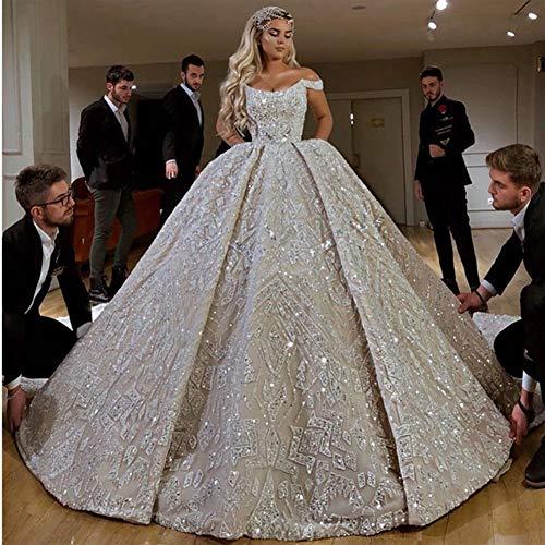 Abiti da sposa Robe de mariée lusso sfera completa in rilievo abito da sposa A Dubai Scoop Off abiti da sposa con spalla Corte dei treni abiti da cerimonia ( Color : Ivory , US Size : Custom Size )
