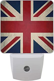 Plug-in LED Night Light Lamp, UK Flag with Dusk to Dawn Sensor for Bedroom, Bathroom, Hallway, Stairways, or Any Dark Room, 2-Pack, 0.5W