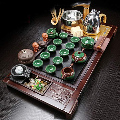 Tea Set,Tea Serving Tray Kung Fu Tea Set With Wood Tea Tray Wooden Water Storage Tea Set,full Set Of Solid Wood Water Drainage Tea Tray,stable Wood Tea Tray,for Home or Office Use (Color : D)