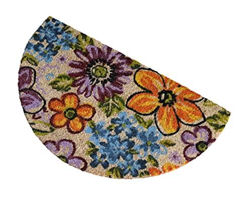 Felpudo de Coco Natural semicircular, felpudos Entrada casa, Alfombra Limpia Zapatos, Felpudo Exterior, Alfombra Entrada casa Interior, felpudos Originales y Divertidos, 40x70 (Flores)