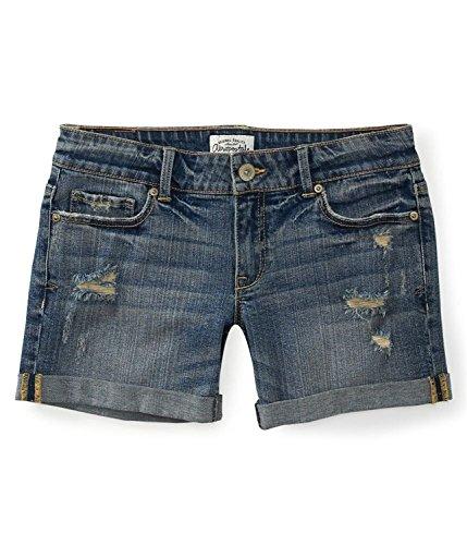 Aeropostale Women's Boyfriend Jean Shorts Medium Wash Destructed 0