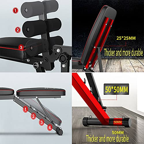 Multi-Function Fitness Bench,Adjustable Workout Bench,Weight Bench with Leg Extension and Leg Curl,Suitable for home gym,With resistance band