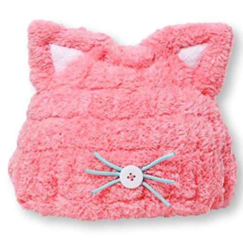 Felimoa 子供用 吸水 タオルキャップ ねこみみ ドライキャップ ふわふわ アニマル かわいい お風呂上がり 全2色 ピンク