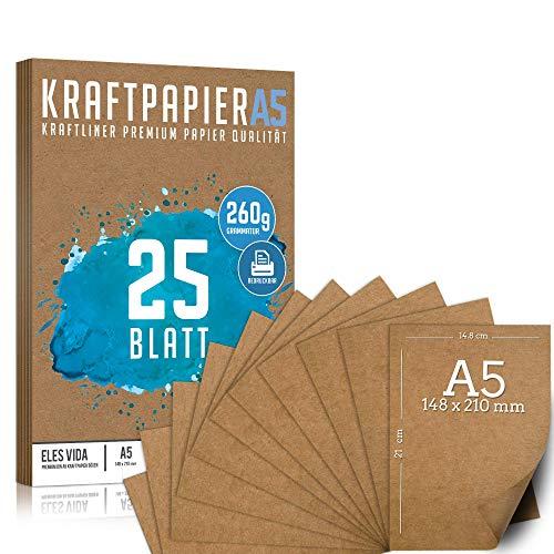 25 Blatt Kraftpapier A5 Set - 260 g - 14,8 x 21 cm - DIN Format - Bastelpapier & Naturkarton Pappe Blätter aus Kraftkarton zum Drucken, Kartonpapier Basteln für Vintage Hochzeit Geschenke Etiketten