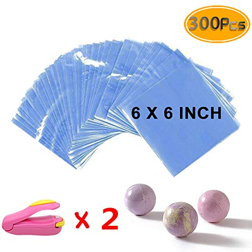 Newbested Shrink Wrap Bags 300pcs - 15 x 15 cm with Two Mini Heat Sealer, Bags for Soaps Bath Bombs, Handmade Soaps and DIY Crafts.