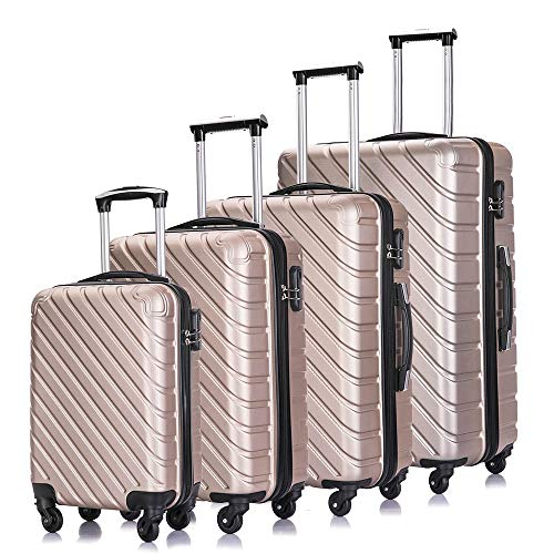 Luggage Sets, Semper 4 Piece Luggage Set Suitcases with Spinner Wheels Hardshell Lightweight Luggage 18' 20' 24' 28'