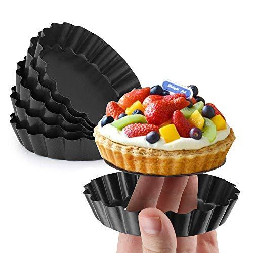Gutsdoor Mini Tart Pan 4 Inch with Removable Bottom Quiche Pan Nonstick Round Quiche Pie Pan Set of 6 (4 Inch)